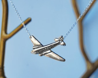 Silver Airplane Necklace | Cute Airplane Charm Necklace | Silver Airplane Pendant | Travel Necklace