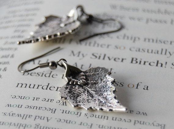 Silver Birch Leaf Earrings