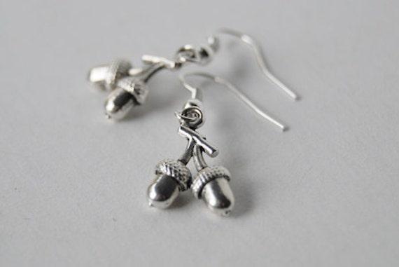 Silver Twin Acorn Earrings - SALE! -