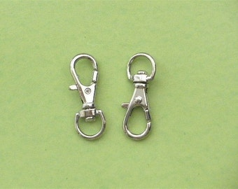 Nickel Lobster Swivel Clasps Clips --50 pcs--5/16 inch D-head inside wide (0.8 cm)--SMALL size
