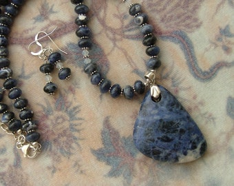 Sodalite and Crystal Necklace