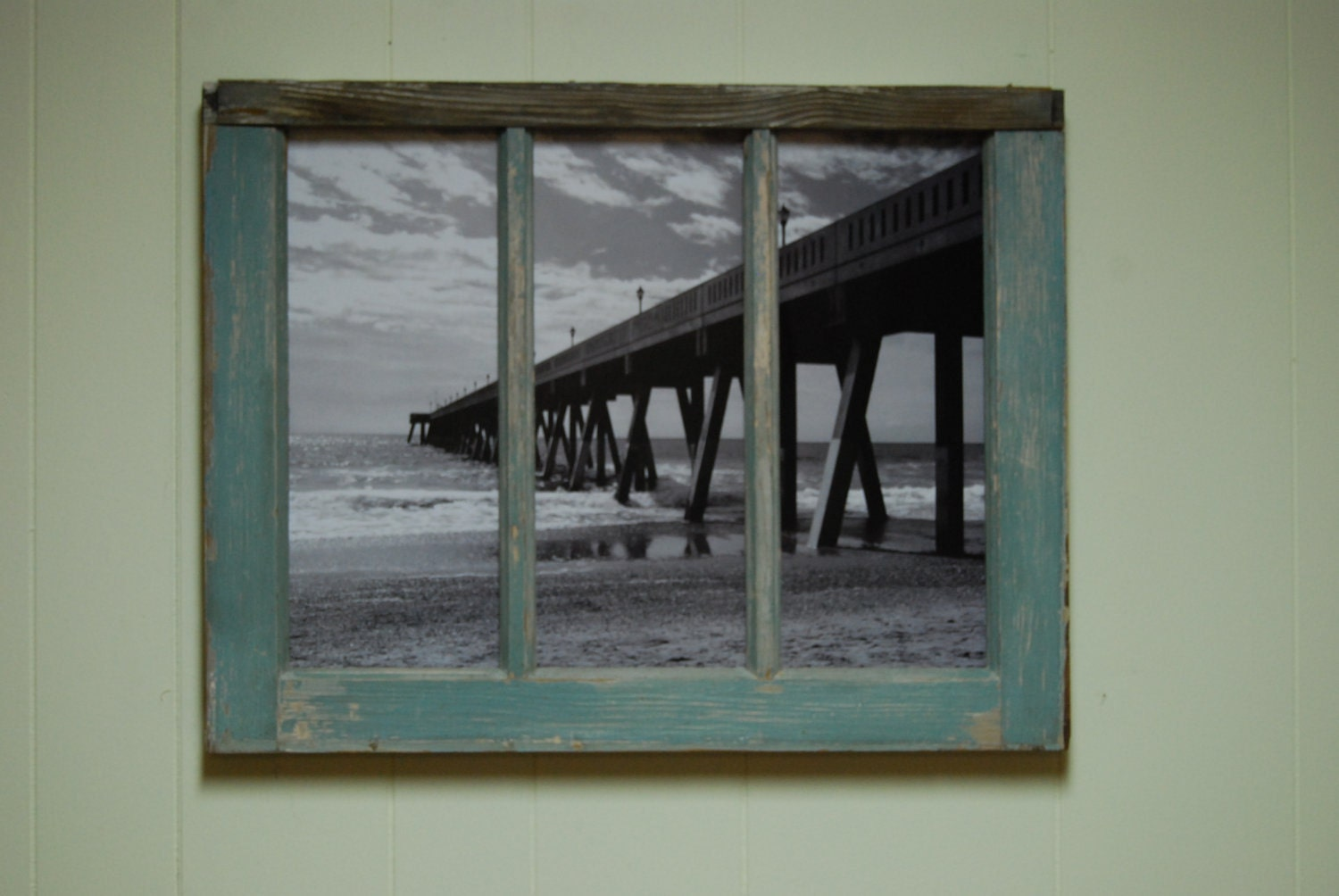 Johnnie mercer 39 s pier photo framed in an old window frame for Using old windows as picture frames