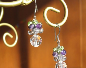 Swarovski and Semi-Precious Cluster Earrings
