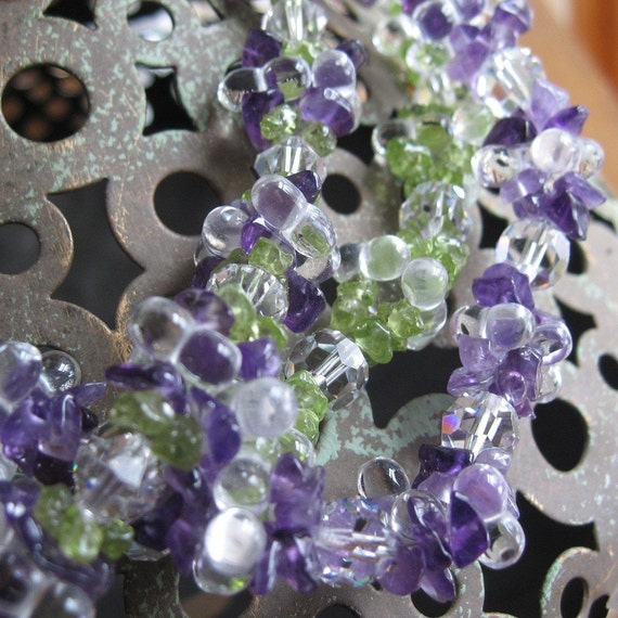 Amethyst and Peridot Cluster Necklace