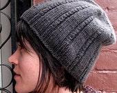 Twist Rib Slouchy Hat - Knit Pattern