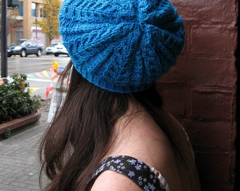 Slouchy Cabled Hat - Knit Pattern