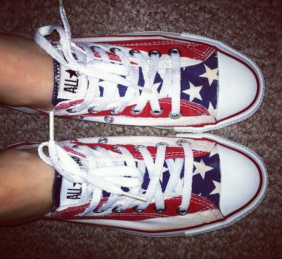 vintage converse low tops american flag stars and stripes. Black Bedroom Furniture Sets. Home Design Ideas