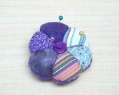 Purple striped mini pincushion 6 points patchwork mini pincushion, mini pincushion, purple pincushion, mini pincushion,