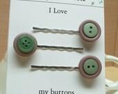 Vintage mauve laurel green button bobby pin 05 ,hair fashion, hair accessory, hair decoration,stocking stuffers