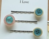 Vintage Teal blue baby pink beige button bobby pins,hair pins,hair accessories,teal blue bobby pins,baby pink bobby pins,beige bobby pins