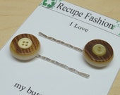 Vintage  brown soft yellow button bobby pin,09,stocking stuffers,bobby pins,brown bobby pins,brown,yellow,yellow bobby pins,