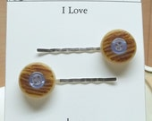 Vintage brown blue button bobby pins,brown bobby pins,blue bobby pins,bobby pins,hair pins,hair accessories,brown hair pins,blue hair pins