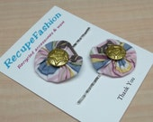 Striped pink blue yoyo gold star button posie bobby pin reclaimed fabric hair accessory