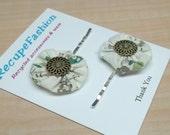 Off white cotton fabric yoyo bobby pins, button, posie, hair accessory, hair fashion,