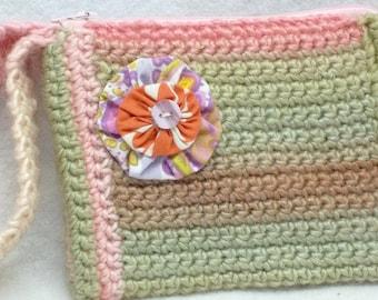 Pink/green crocheted Wrislet/clutch,crochet clutch/wrislet,women,teen,eco-friendly,green crochet clutch,pink crochet clutch,crochet clutch
