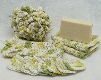 Crochet Lime green Spa bath set,bath puff,eye make up remover pads,facecloth,soap saver,cotton yarn,eco friendly