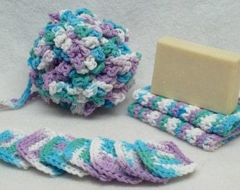 Blue and purple crochet Spa bath set,bath puff,eye make up remover pads,face cloth,cotton yarn,eco friendly,gift,housewarming present