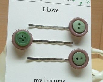 Vintage mauve/green button bobby pin/hair pin,05 ,hair fashion hair accessory,hair decoration,stocking stuffers,green/mauve hair accessory