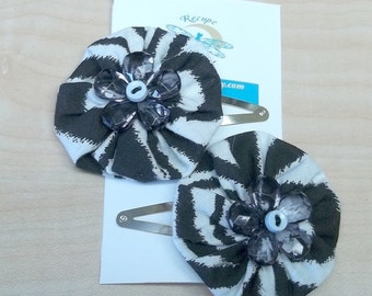 Black animal print yoyo flower posie hair clip reclaimed fabric baby button