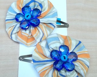Striped orange and blue yoyo flower posie hair clip reclaimed fabric baby button