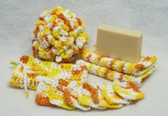 Crochet upcycle sunligh yellow Spa bath set bath puff eye make up remover pads facecloth eco friendly Treasury item