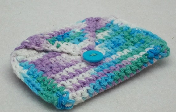 ... crochet coin purse business card holder stocking stuffer cotton yarn