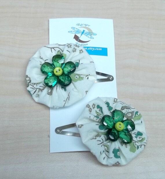 Cream forest green yoyo flower posie hair clip reclaimed cotton baby button eco friendly treasury item