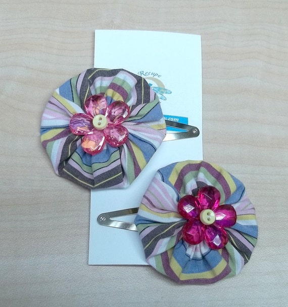 Pink yoyo flower posie hair clips reclaimed fabric baby button