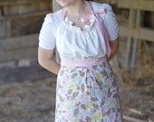 Ruffle Bodice Full Apron in Vintage Pink Floral
