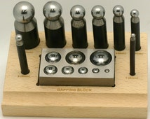Dapping Punch 10 pc Set w/ Steel Doming Block & Wooden Stand Check Our Low Shipping Cost
