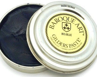 Gilders Paste, Patina Paste,  Color is Called IRIS BLUE, comes with a Free Horse Hair Applicator Brush