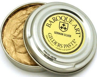Gilders Paste, Patina Paste, Color is Called GERMAN SILVER, comes with a Free Horse Hair Applicator Brush