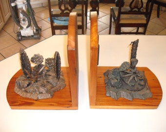 Western Metal Sculptured and wood Book ends