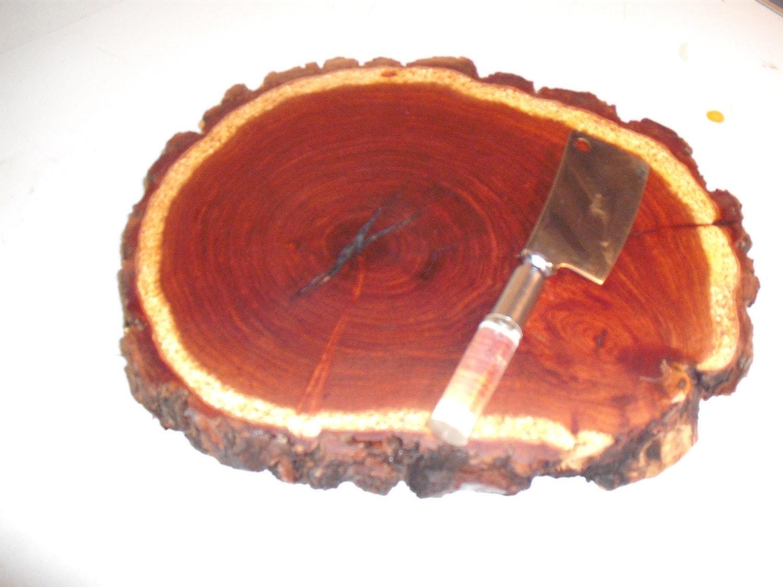 Bark Edge Mesquite Log End Cheese Cutting Board