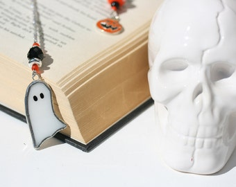 HAUNTED BOOKMARK with spooky stained glass ghost
