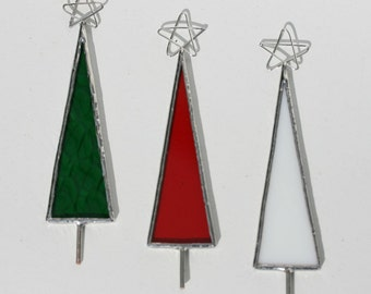 Set of 3 stained glass christmas tree ornaments