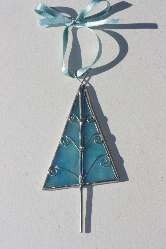 Stained Glass Tree Ornament for Christmas ICY BLUE