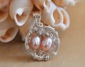 "Sterling Silver ""Mother's"" Nest Pendant- Pink Freshwater Pearls"