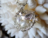 Sterling Silver Nest Pendant with Freshwater Pearls and Bird Charm- New Mom Gift- Baby Shower Gift- Twin Mom Gift