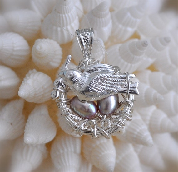 Sterling Silver Nest Pendant with Freshwater Pearls and Bird Charm
