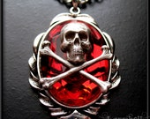 Red Skull Pendant Necklace // Skull Necklace // Skull Jewelry // Gothic Necklace // Punk Necklace