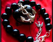 Anchor Bracelet, Black Beaded Anchor & Heart Pendant, Nautical Jewelry, Rockabilly Jewelry