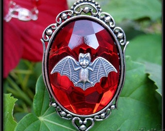Gothic Bat Necklace with Red Stone // Bat Cameo Necklace // Gothic Jewelry // Bat Jewelry // Halloween Jewelry
