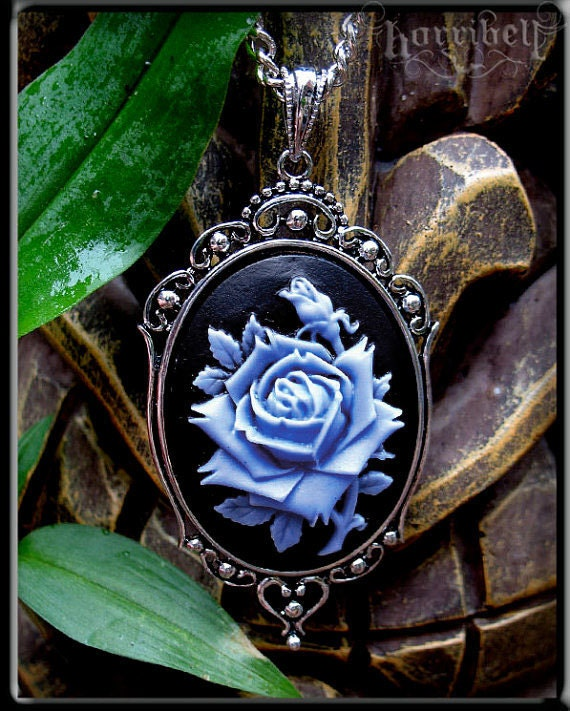 Blue Rose Cameo Necklace Rose Pendant Cameo Jewelry Rose