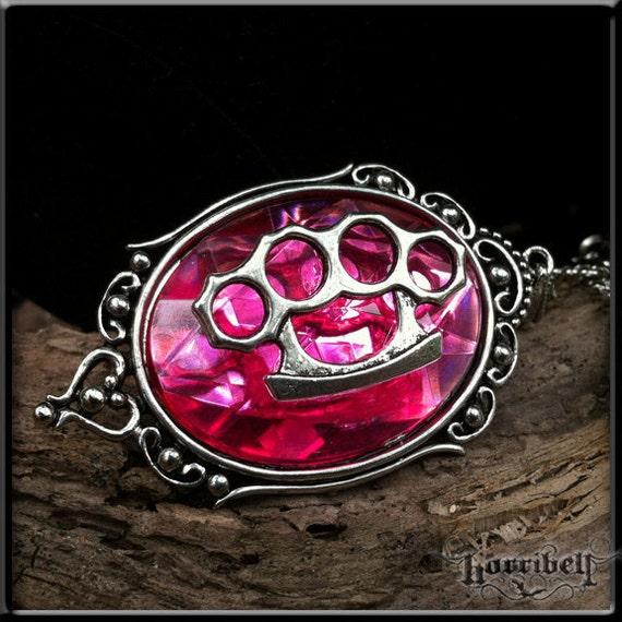 Pink Brass Knuckles Necklace // Knuckle Duster // Punk // Rockabilly Necklace // Psychobilly Jewelry