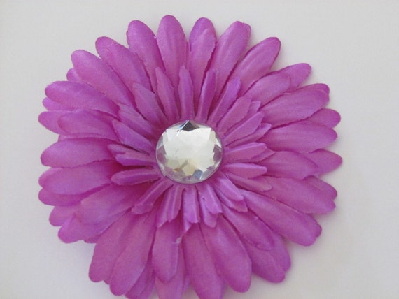 Lavender Light Purple Daisy Hair Flower on Alligator Clip with Jewel Center