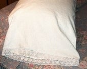 White Linen Pillowcases with Venetian Lace edging
