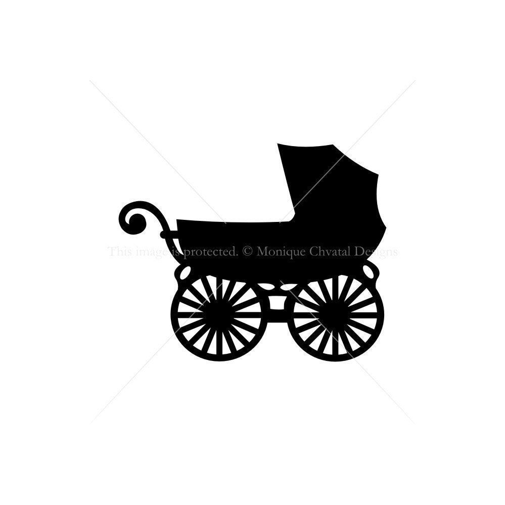 Baby Carriage Silhouette Series by moniquechvatal on Etsy
