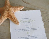 Starfish Menu- Beach Wedding or Reception