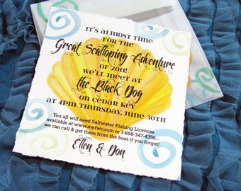 Pool or Mermaid Scallop Shell Party Invitations-Completely Custom and Hand Painted